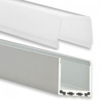 PN6 Chort C2 Aluminium Profil f. LED Stripes 2m + Plast Opal