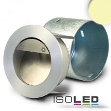 LED Lykta för inbyggnad rund IP44, Ädelstål, 1W, varmvit