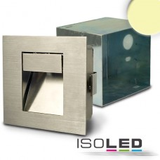 LED Vägglykta för inbyggnad rektangulär IP44, Ädelstål, 1W, varmvit