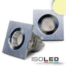 LED spot för inbyggnad, 3W, 30°, kvadrat, Aluminium, varmvit