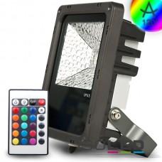 LED Strålkastare 10Watt, RGB, grå inkl. Fjärrkontroll