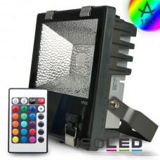 LED Strålkastare 30Watt, RGB, grå inkl. Fjärrkontroll