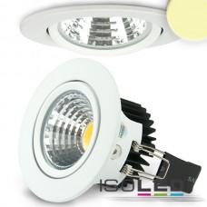 LED spot för inbyggnad, vit, 8W COB, rund, varmvit