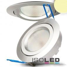 LED spot för inbyggnad silver, 8W SMD, 140°, rund, varmvit, dimbar