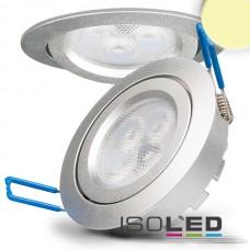 LED spot för inbyggnad, silver, 8W, 72°, rund, varmvit, dimbar
