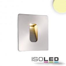 LED Vägglykta för inbyggnad rektangulär, IP65, 1x3W CREE, Ädelstål, varmvit