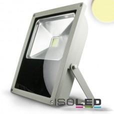 LED Strålkastare 70Watt, varmvit, silver matt