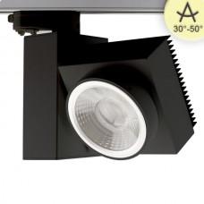 3-Fas Skensystem Spotr kvadratisk, fokuserbar, 30W, 30°-50°, svart matt, varmvit, dimbar