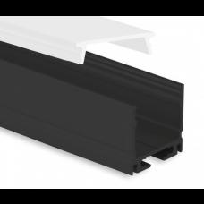 P8 Kocab Aluminium Profil inkl. Täckglas Opal Svart eloxerad