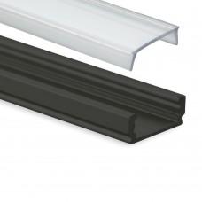 PL1 Anser Aluminium Profil svart för LED Stripes + Täckglas transparent