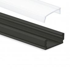 PL1 Anser Aluminium Profil svart för LED Stripes + Täckglas Opal