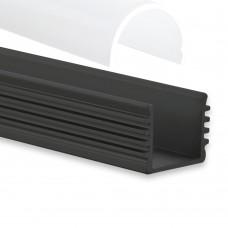 PL5 Megrez C5 Svart Aluminium Profil f. LED-Stripss 2m + Täckglas/plast Klar