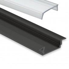 PL 8 Subra Svart Eloxerad för LED-Stripes Täckglas/plast 2 Meter Klar