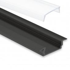 PL 8 Subra Svart Eloxerad för LED-Stripes Täckglas/plast 2 Meter Opal