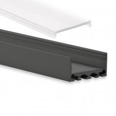 PN4 Cursa C1 Svart Eloxerad Aluminium Profil f. LED Stripes 2m + Täckglas/plast Opal