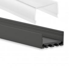 PN4 Kuma C2 Svart Eloxerad Aluminium Profil f. LED Stripes 2m + Täckglas/plast Opal