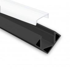 LED Aluminium Hörnprofil P23 Pollux f. LED Stripes Hörnprofil Svart inkl. Täckglas/plast Opal
