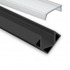 LED Aluminium Hörnprofil P23 Pollux f. LED Stripes Hörnprofil Svart inkl. Täckglas/plast Klar