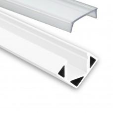 LED Aluminium Profil PO23 Pollux f. LED stipe hörnprofil aluprofil vit med klar täckglas