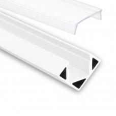 LED Aluminium Profil P23 Pollux f. LED stipe hörnprof aluprofil vit med opal täckglas